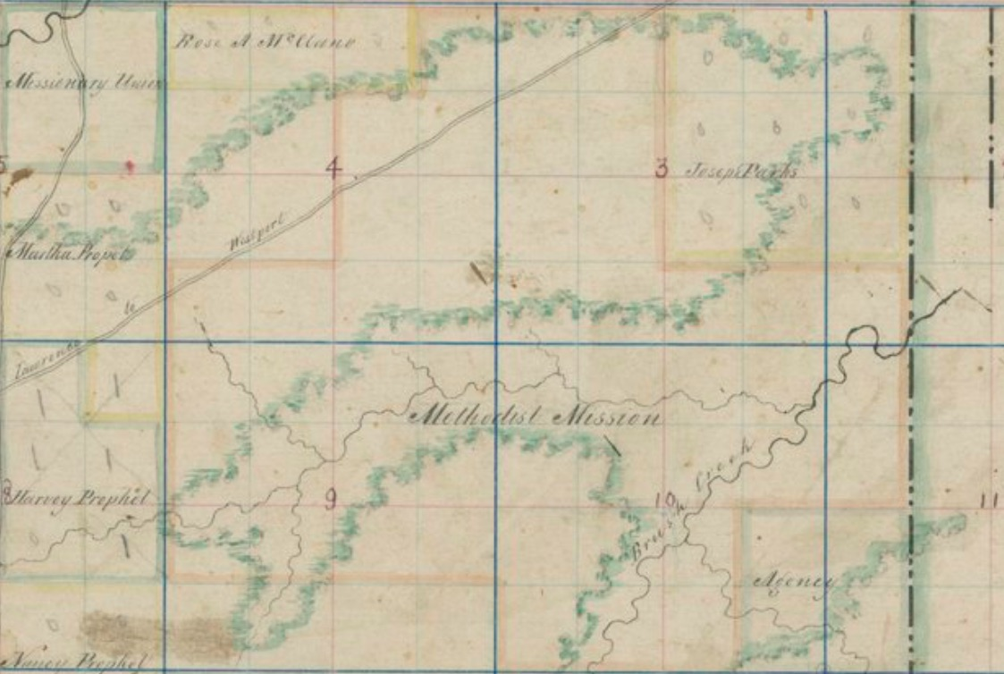 the first atlas of johnson county kansas territory was in 1854 this image is from the pages of the atlas and shows the location of the shawnee indian