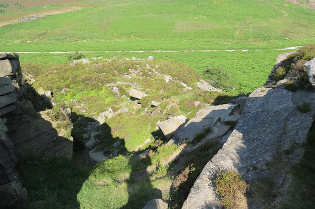 Looking down the narrow path up which I scrambled to the top of Burbage Rocks