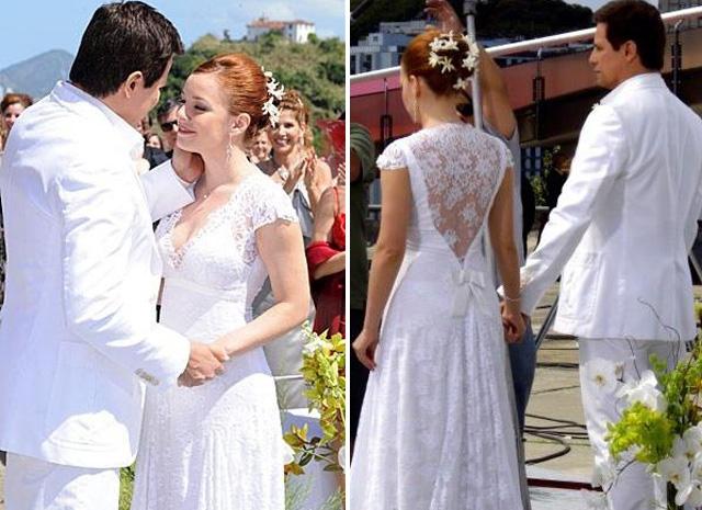 Regiane Alves de noiva, vestido Lethicia Bronstein, novela beleza pura