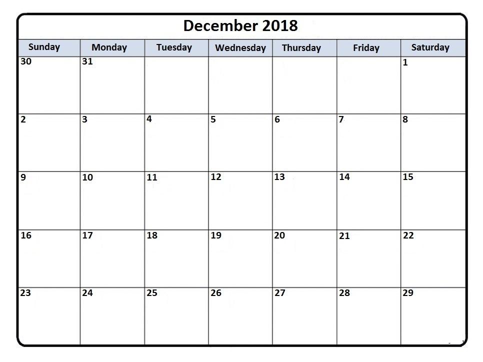 Get Free Printable December 2018 Editable Calendar