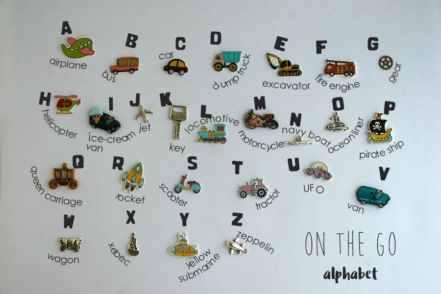 Transportation theme language objects for I spy bag or bottle