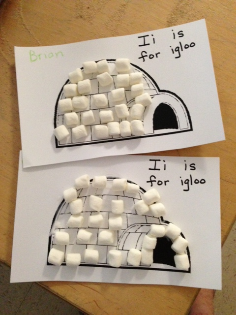 Kindergarten and Mooneyisms: Letter I Activity - Marshmallow Igloos ...