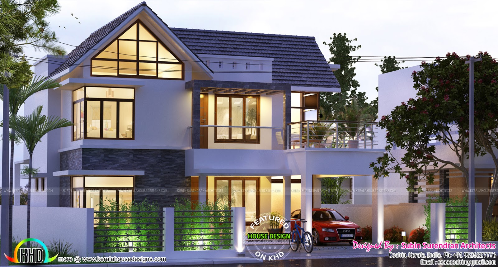 4 bhk 2200 sq ft sloped roof house kerala home design for Slanted roof house plans