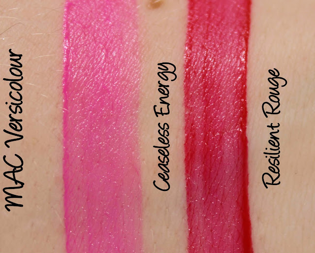 MAC Versicolour - Ceaseless Energy and Resilient Rouge Swatches & Review