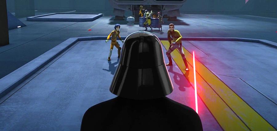 Kanan şi Ezra se confruntă cu Darth Vader