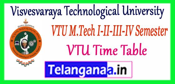 VTU Visvesvaraya Technological University M.Tech 1st 2nd 3rd 4th Semester Time Table 2017-18 Admit Card