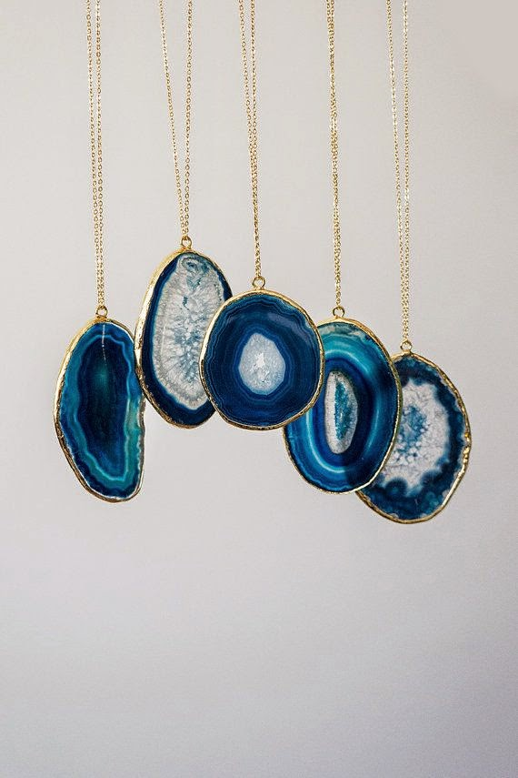 Blue Slice Agate Necklace, Boho Necklace, Tribal Necklace, Layering Necklace