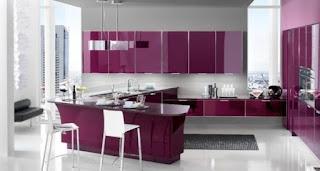 cocina moderna púrpura