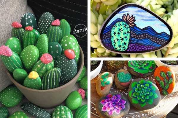 Inspirational Painted Rocks That Look Like Succulents Or Cacti