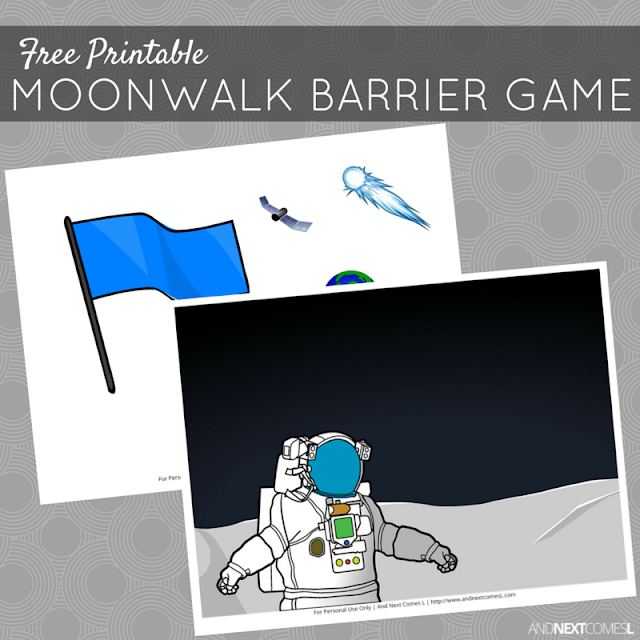Free printable space themed barrier game for kids from And Next Comes L