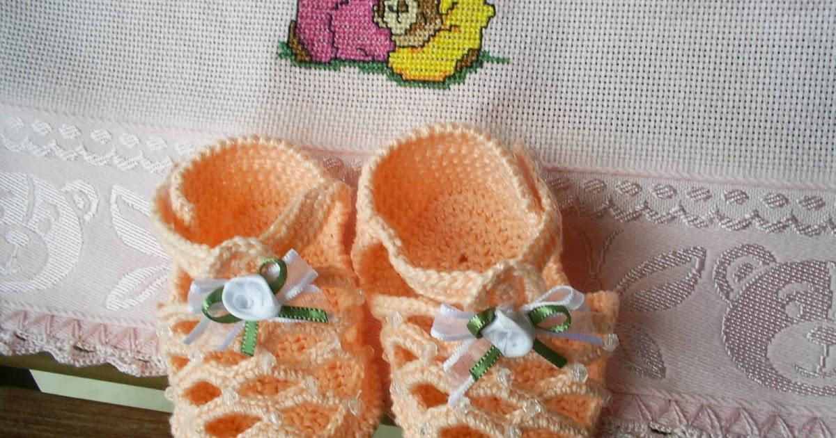 c5d4cee232 Maria Amélia - Crochê  Gráfico de sandalinha de crohe - Salmão