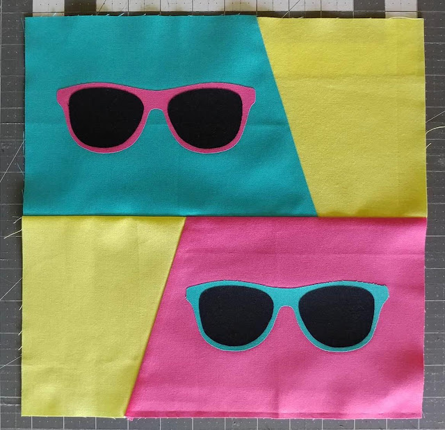 Fun in the Sun retro sunglasses quilt block tutorial