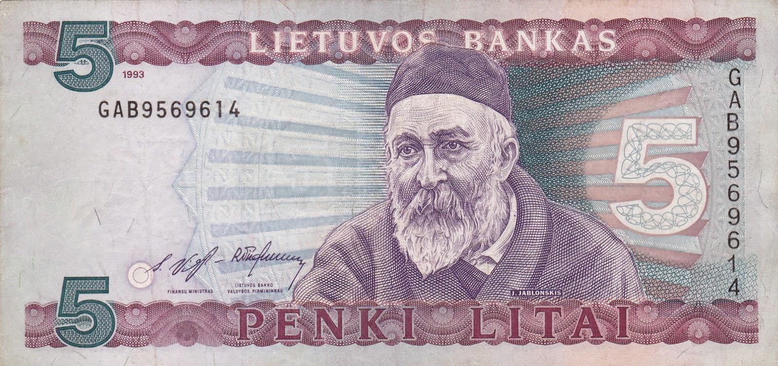 Banknotes of Lithuania 5 Litu banknote 1993 Jonas Jablonskis