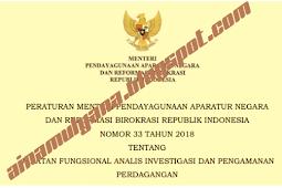 Permenpan RB No 33 [Tahun] 2018 (Tentang) Jabatan Fungsional ANALIS INVESTIGASI & PENGAMANAN PERDAGANGAN
