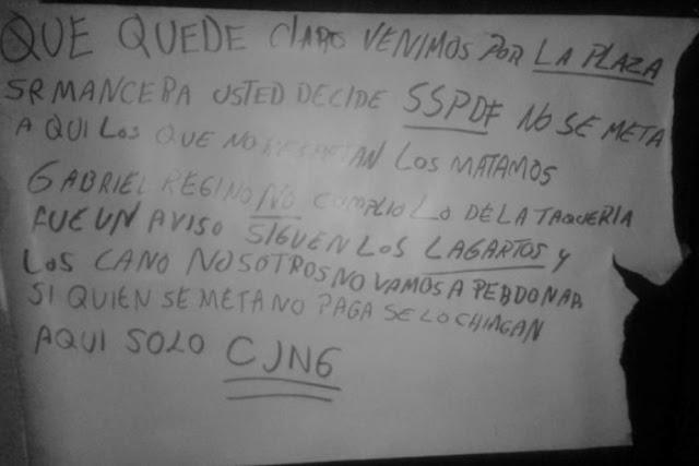 Que quede claro venimos por la plaza Sr Mancera no se meta aquí solo CJNG en cartulina le recalcan a Miguen Ángel y dice que no existen cárteles