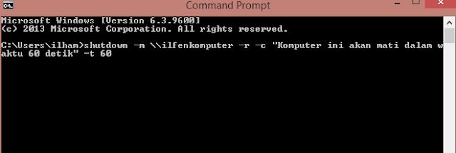 Mematikan Komputer lain Lewat CMD