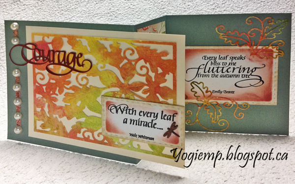 "While I had the Tutti Design ""Fall Leaf Frame"" on my desk I also cut it from this Distress Oxide background.  I'm using an A Way With Words dies  ""Courage""  from Elizabeth Craft Designs, also available on Quietfire Design HERE  And I'm using a quote stamps from Quietfire Design (""Leaves"" 6pce set);"