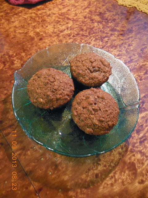 Three Grain Date Muffins with molasses and buttermilk.