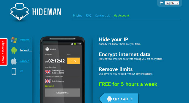 Aplikasi VPN Android Terbaik Hideman VPN