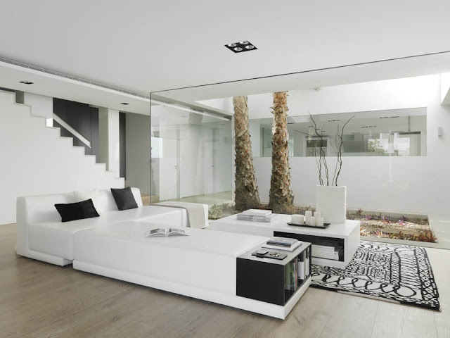Living room with white modern furniture