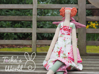angel, cotton, Fair Trade Fabric, garden angel, Ikea, rag doll, tilda doll, roses, dungarees, wings, gardener