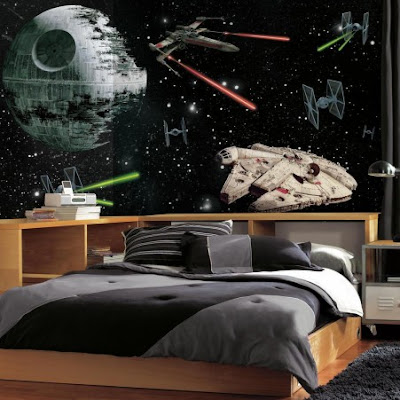 fototapet star wars death star space millennium falcon 3d fondtapet