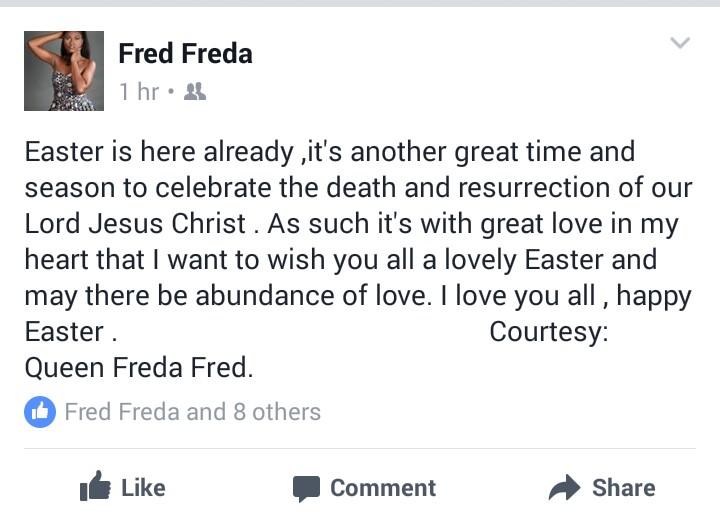 Queen Freda's Facebook page screenshot