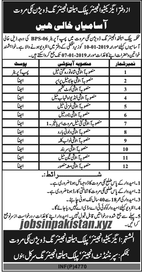 Advertisement for Public Health Department Jobs December 2018
