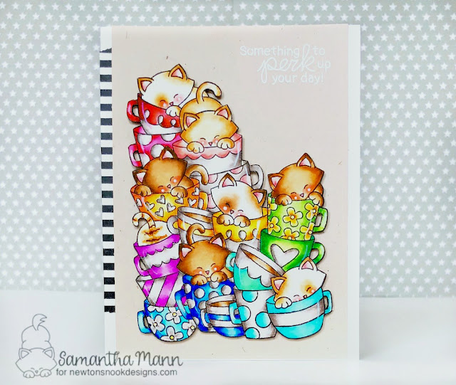 Something to Perk You Up Card by Samantha Mann - Newton's Nook Designs, coffee, cats, Zig Clean Color Real Brush Markers, #newtonsnook, #coffee #handmadecard