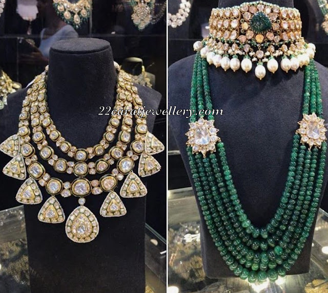 Heavy Polki Choker Green Beads Set