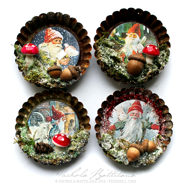 Pixie hill day gnome tart tin ornaments