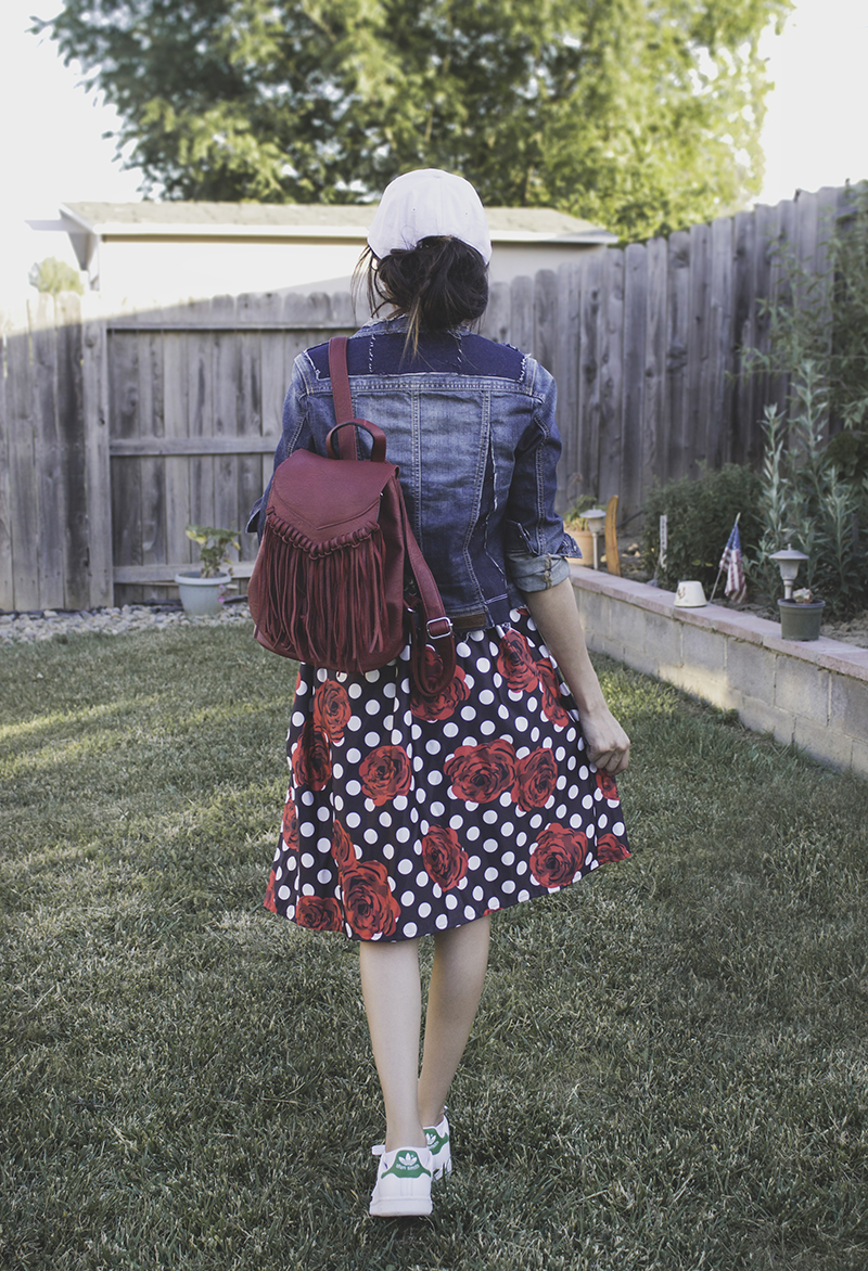 madewell inspired distressed denim jacket refashion upcycle fringe backpack