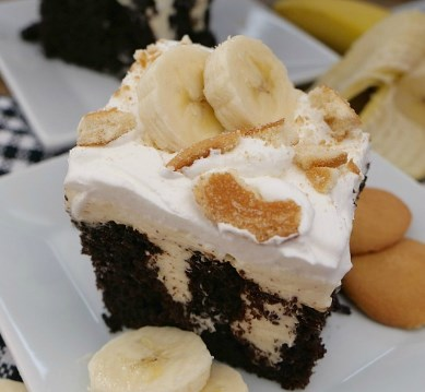 DARK CHOCOLATE BANANA POKE CAKE