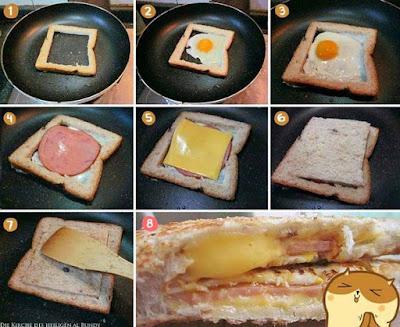 Ausgefallenes Dessert Spiegelei mit Toast in der Pfanne gebraten - lecker und einfach