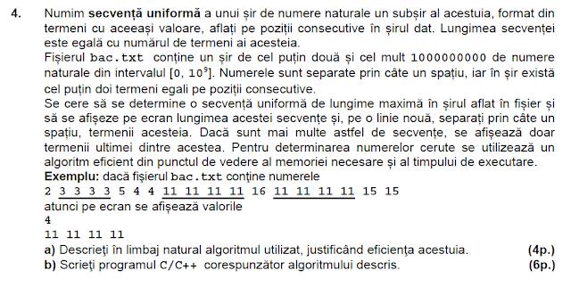 rezolvare sesiunea speciala BAC 2014 matematica informatica