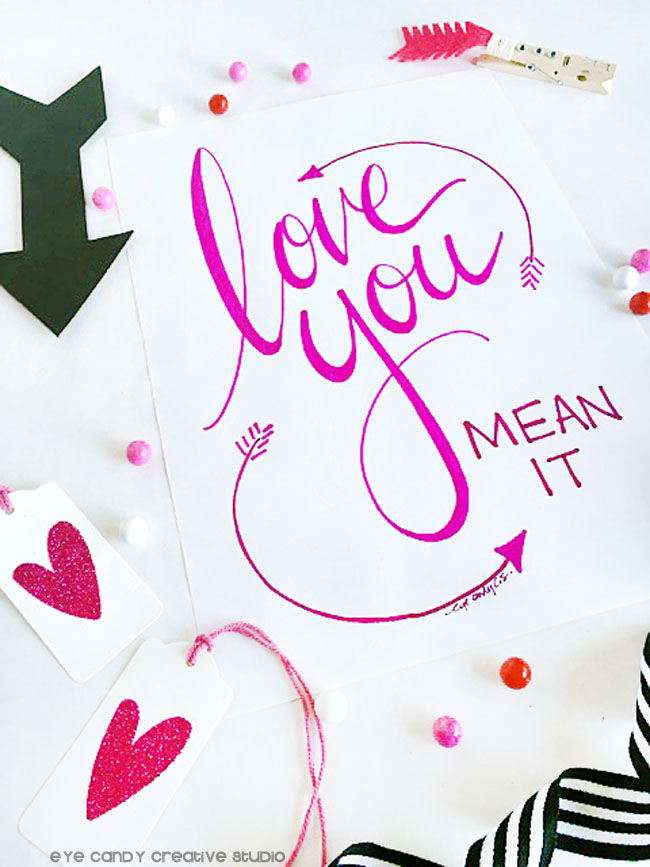 love art, valentines, hand lettered, pink ink, arrow art, valentines gift idea