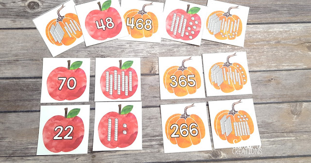 Grab your free Fall Place Value Match Game. This makes the perfect math activity for first, second or third grade.