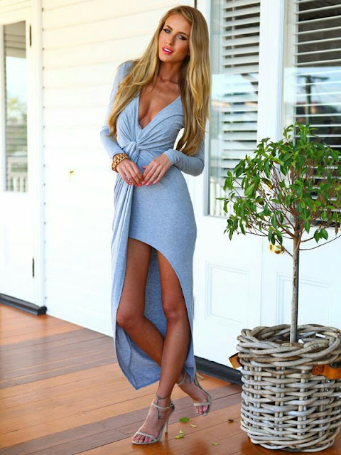 V neck full sleeve maxi Dress