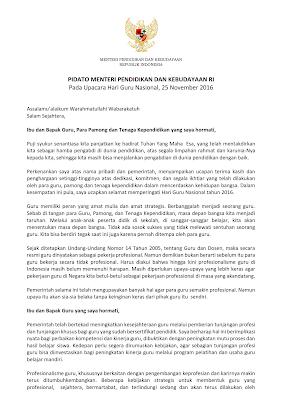 Pidato Sambutan Mendikbud Hari Guru Nasional (HGN) 25 November 2016