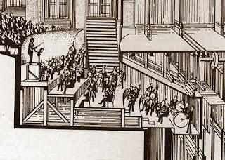 Ubicación de la orquesta bajo el escenario.