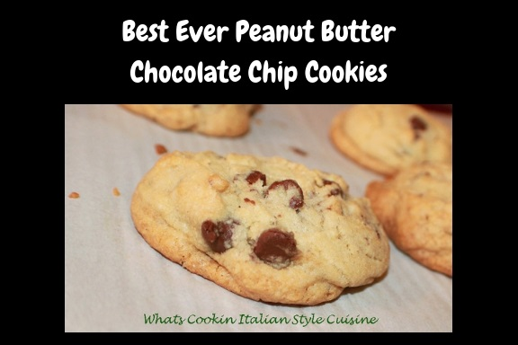 these are a buttery peanut butter homemade from scratch cookie with chocolate chips in them. These are how to make the best ever peanut butter chocolate chips cookies. These cookies are on a cookie sheet with parchment paper on them so they wont stick and are easy to remove after cooling.