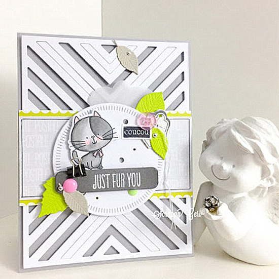 Birdie Brown I Knead You stamp set and Die-namics, and Radial Stitched Circle STAX and Four Way Chevron Cover-Up Die-namics - Scrappy Géri #mftstamps