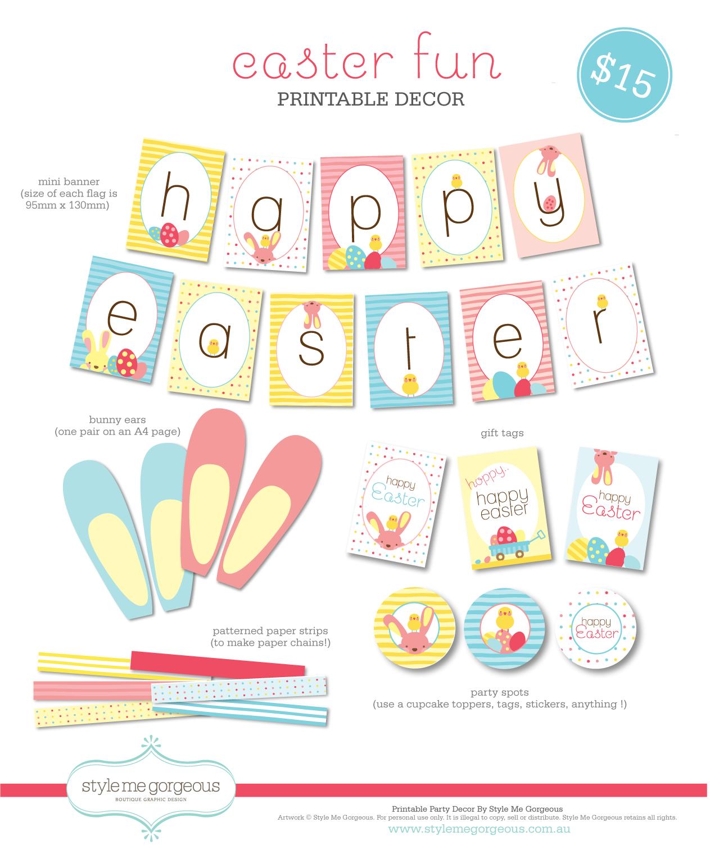 Style Me Gorgeous Printable Decor Easter Fun