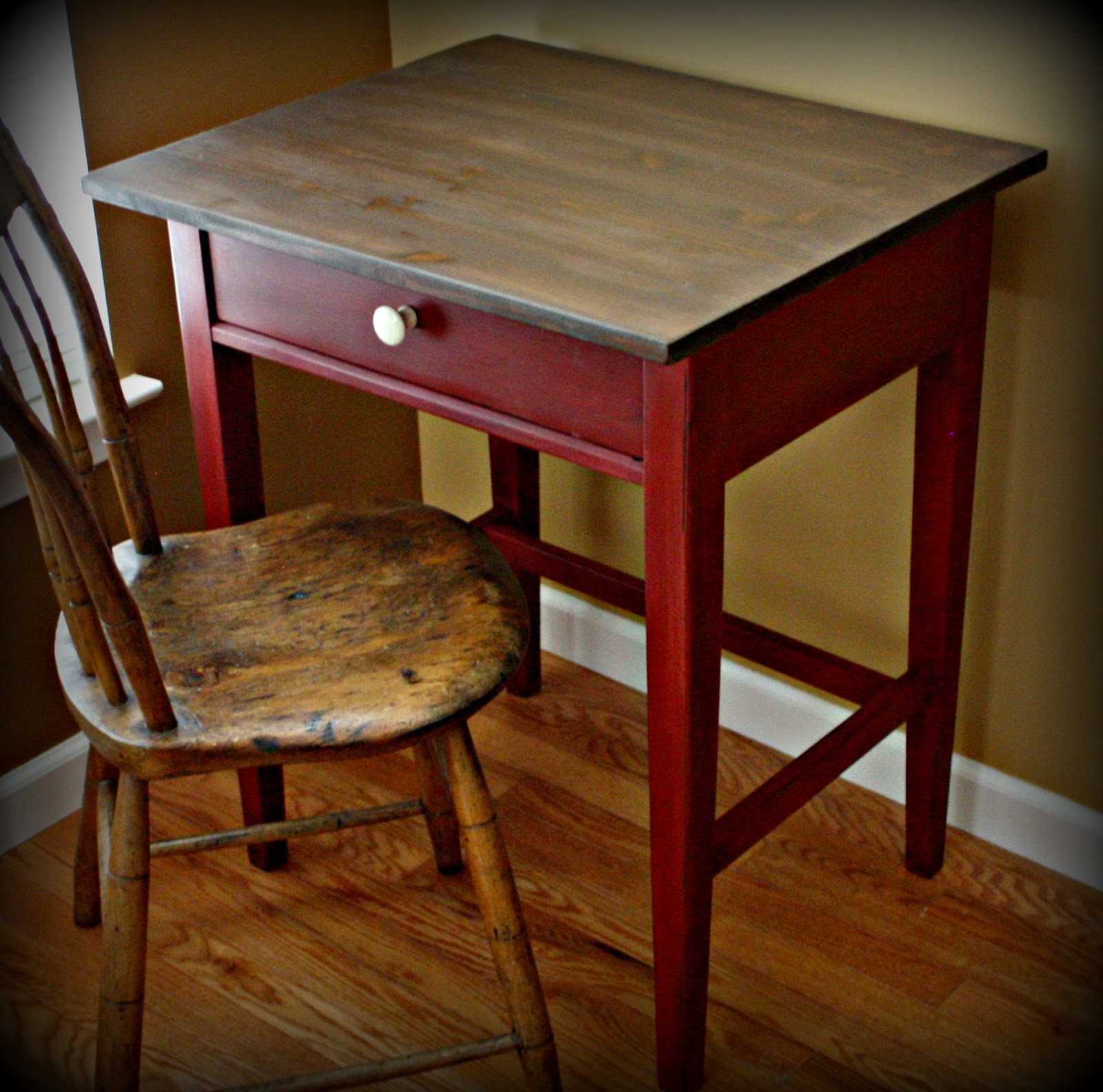 Small writing desk painted red