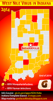 Choropleth map of Indiana counties with the West Nile Virus in 2014