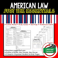 American Law Outline Notes, Civics Test Prep, Civics Test Review,Civics Study Guide, Civics Summer School Outline, Civics Unit Reviews, Civics Interactive Notebook Inserts
