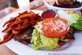 Blackened Catfish Sandwich with Avocado, Citrus Aioli, Lettuce, Tomato and Sweet Potato Fries at Seamore's