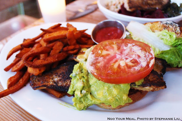 Blackened Catfish Sandwich with Avocado, Citrus Aioli, Lettuce, Tomato and Sweet Potato Fries at Seamore's