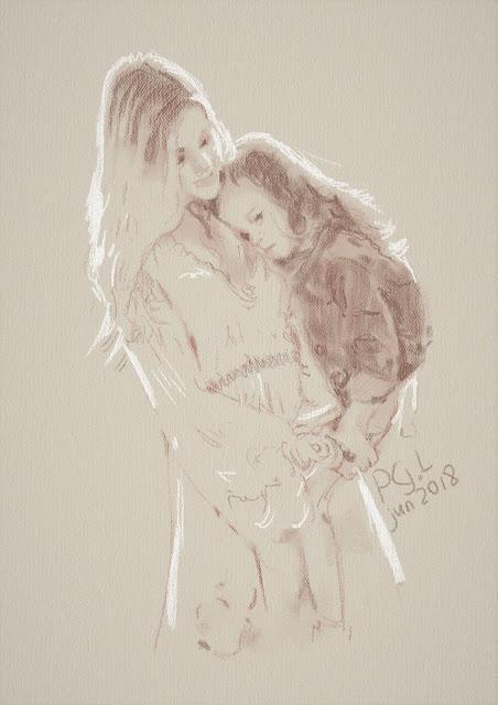 Зарисовки: фигура матери и маленькой дочки