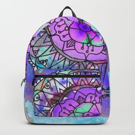 Watercolor mandala in blue violet backpack